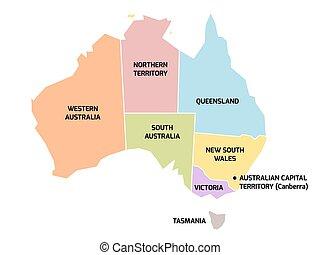estados, mapa, austrália, territórios
