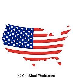 estados, mapa, bandeira, unidas, projetado