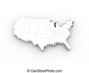 estados, mapa, branca, eua, 3d