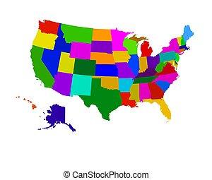 estados, mapa, coloreado, estados unidos de américa