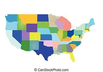 estados, mapa, coloridos, eua