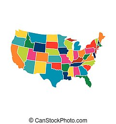 estados, mapa, eua, coloridos, ícone