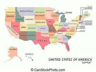 estados, mapa, eua, coloridos, nome
