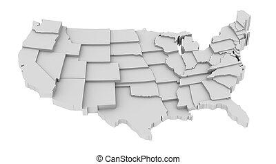 estados, mapa, leveles, eua