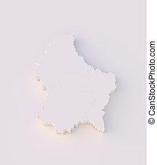 estados, mapa, luxemburgo, 3d
