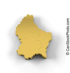 estados, mapa, luxemburgo, ouro, 3d