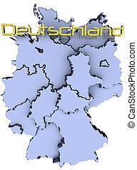 estados, mapa, nacional, deutschland, alemanha
