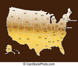 estados, mapa, nomes, eua