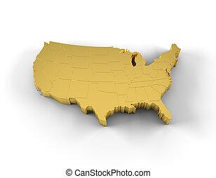 estados, mapa, ouro, eua, 3d