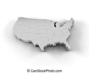 estados, mapa, prata, eua, 3d