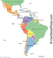 estados, mapa, solo, américa latina