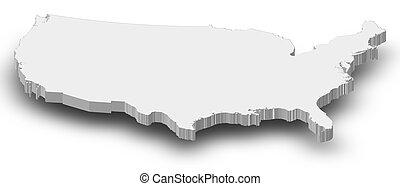 estados, mapa, unidas