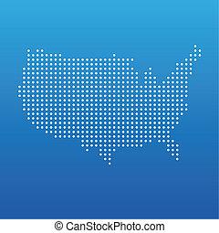 estados, mapa, unidas, ponto