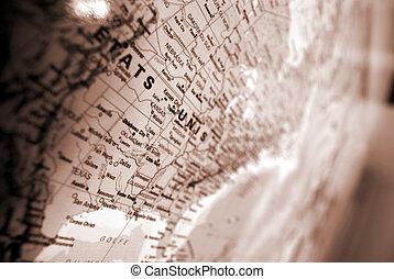 estados, mapa, unidas, sepia