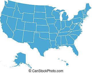 estados, mapa, unidas, vetorial