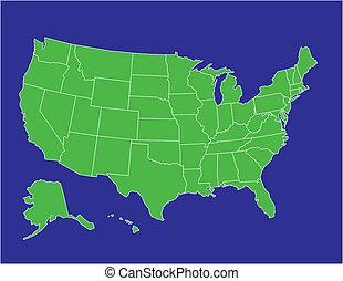 estados, mapa, unido, 02