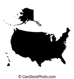 estados, mapa, unido, américa