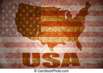 estados, mapa, unido, américa, vendimia