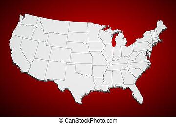 estados, mapa, unido, rojo