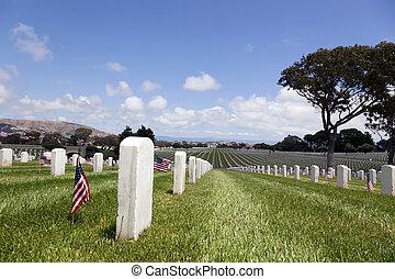 estados, nacional, unidas, cemitério, lápides