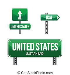 estados, país, unidas, sinal estrada