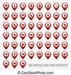 estados, unidas, 50, nós, 1, jogo, maps., américa