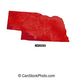 estados, unidas, illustration., aquarela, america., vetorial, nebraska., texture.