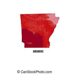 estados, unidas, illustration., state., aquarela, america., vetorial, arkansas, texture.