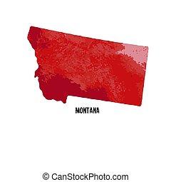 estados, unidas, illustration., state., aquarela, america., vetorial, texture., montana