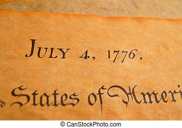 estados, unidas, independência, declaração