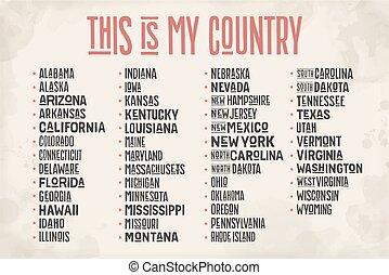 estados, unidas, lista, américa