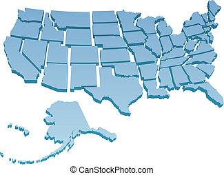 estados, unidas, mapa, separado