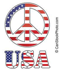 estados, unidas, sinal paz