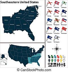estados, unidas, sudeste