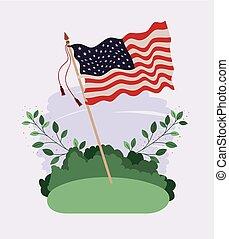 estados, unidas, waving, campo, bandeira, américa