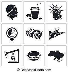 estados, unido, conjunto, vector, iconos