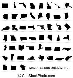 estados, unido, federal, 50, nosotros, district., 1, américa...