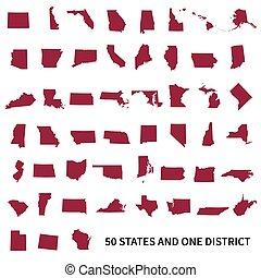 estados, unido, federal, 50, o, district., 1, conjunto,...