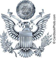 estados, unido, grande, plata, sello