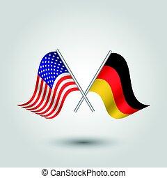 estados, unido, triángulo, simple, cruzado, -, dos, ondulación, alemán, poste, vector, inclinado, banderas, norteamericano, américa, alemania, plata, icono