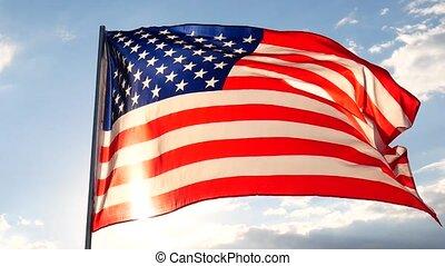 estados unidos américa, flag., a, branco vermelho, e, blue., u.s, listras estrelas, voando, com, azul, sky.