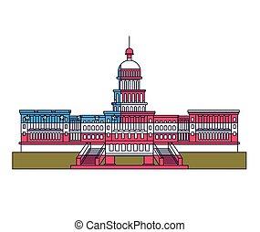 estados unidos capitólio, isolado, ícone, desenho