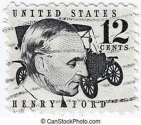 :, estados unidos de américa, 1997, exposición, estampilla, compañía, -, ford, ford, norteamericano, industrial, impreso, motor, henry, fundador, hacia