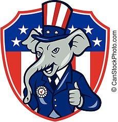 estados unidos de américa, arriba, bandera, pulgares, elefante, republicano, caricatura, mascota