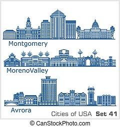 estados unidos de américa, aurora, ciudades, detallado, ...