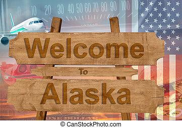 estados unidos de américa, bienvenida, madera, alaska, señal...