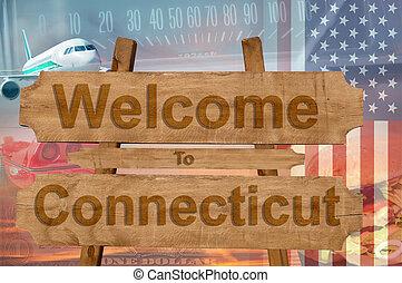 estados unidos de américa, bienvenida, madera, connecticut, ...
