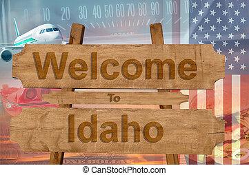 estados unidos de américa, bienvenida, madera, estado, señal...