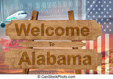 estados unidos de américa, bienvenida, madera, señal, tema, ...