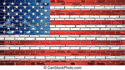 estados unidos de américa, brillante, pared, ladrillo, bandera